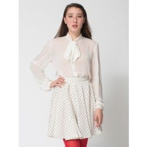 American Apparel Polka Dot Gore Pleated Skirt